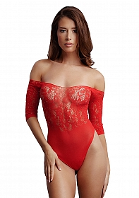 Crotchless Rhinestone Teddy - Red