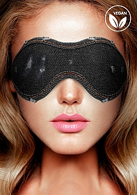 Denim Eye Mask - Roughend Denim Style - Black