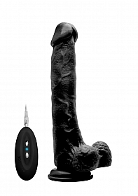 "Vibrating Realistic Cock - 10"" - With Scrotum - Black"