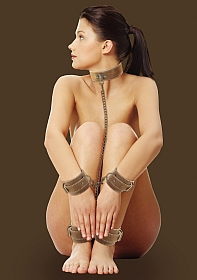 Collar With Hand And Leg Cuffs - Brown