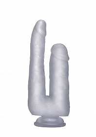 Realistic Double Cock - 9 Inch - Translucent
