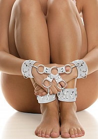 Leather Hand And Legcuffs - White