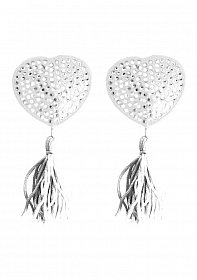 Nipple Tassels - Heart - White