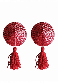 Nipple Tassels - Round - Red
