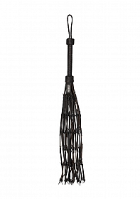 """Saddle Leather With Barbed Wire Flogger 30"""""""" - Black"""