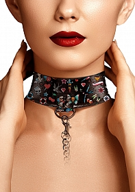 Printed Collar With Leash - Old School Tattoo Style - Black